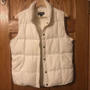 Women's Lands End Down White Puffy Vest Small
